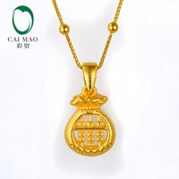 CAIMAO 24K Pure Gold Pear Shape Charm Pendant About 2.15g Real 999 3d Hard Gold Process Fine Jewelry