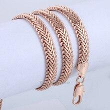 9mm Unisex Mujer Niñas Niños Mens Cola de Zorra Cadena de Serpiente Herringbone Rose Gold Filled GF del Collar de la Joyería Al Por Mayor LGN427