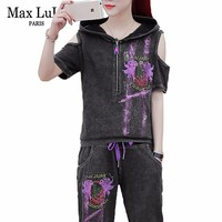Max LuLu Summer Korean Fashion Ladies Off Shoulder Tops And Pants Womens Denim Club Outfits Two Pieces Set Sexy Hooded Tracksuit