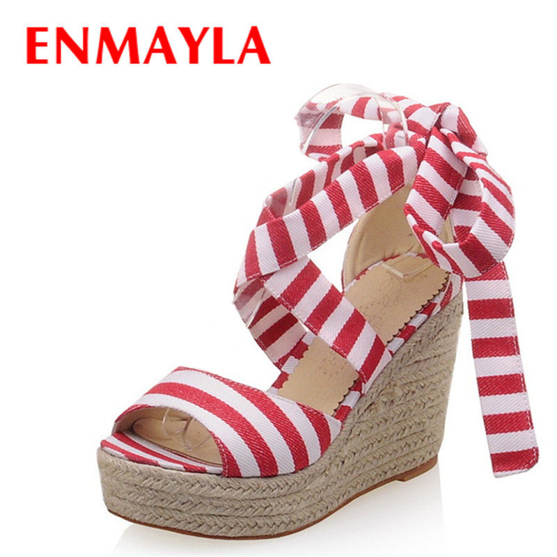 Airfour Fashion Summer Bohemia Wedges Sandals High Heels Platform Size 34-43 Red Black Women Casuals Ladies Sweet San