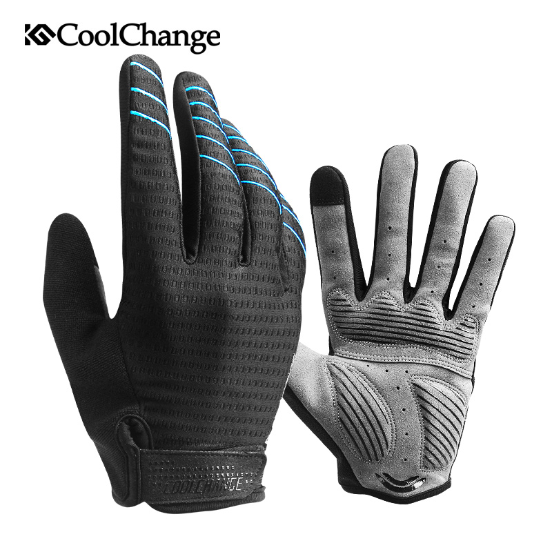 Coolchange Biking Gloves Full Finger Sport Shockproof Mtb Bike Contact Display Gloves Man Lady Bicycle Sponge Lengthy Finger Glove