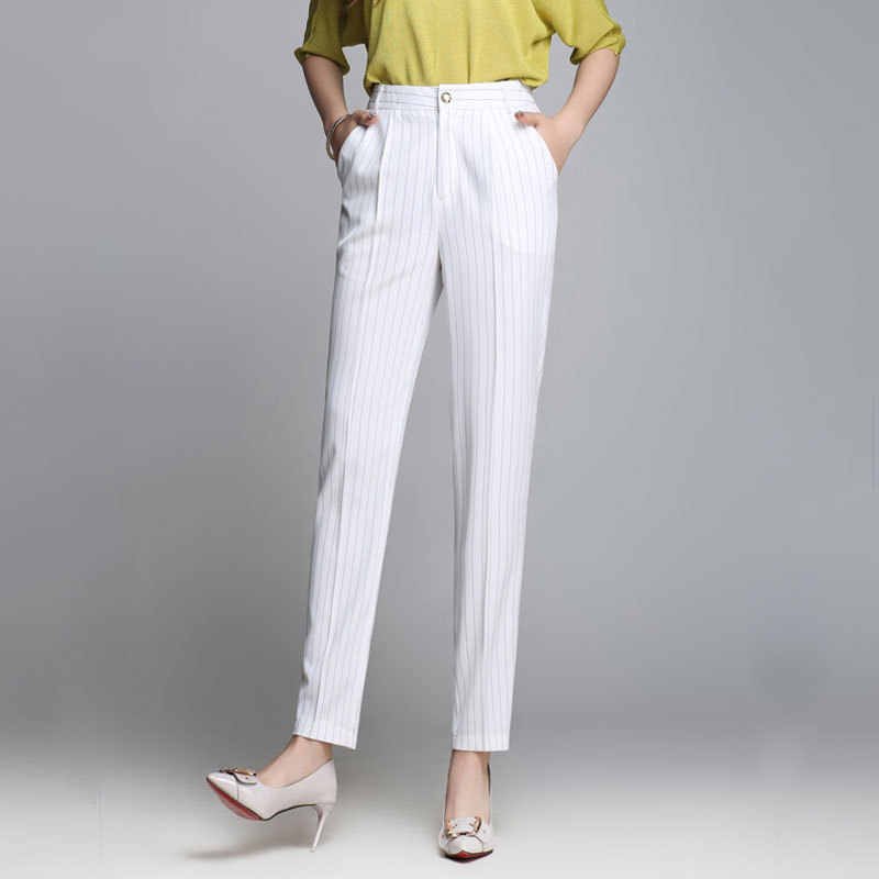 2019 Summer New Womens High Waist Plus Size Pants Striped Office Lady Feet Pattern White Black Zipper Thin Harem Pants Female