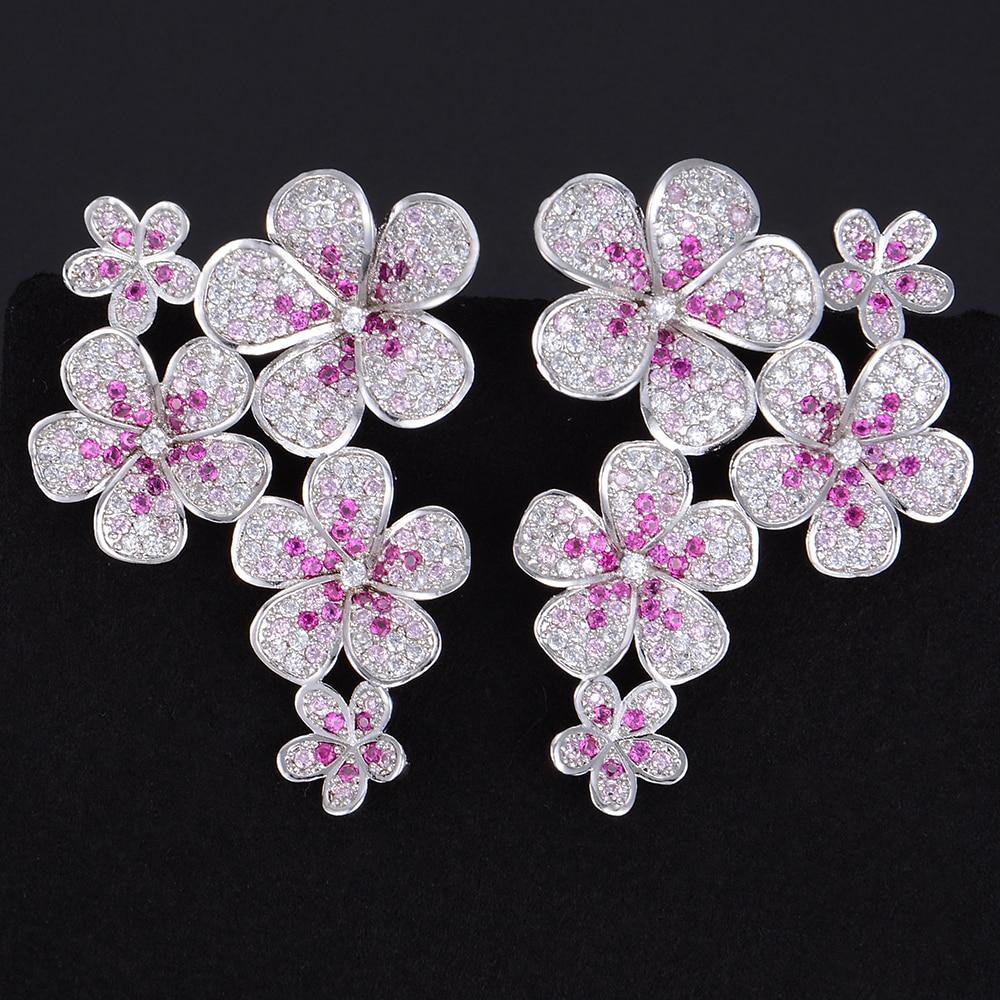 Missvikki marque de mode boucles d'oreilles de mariage élégant et charmant cubique zircone longues boucles d'oreilles bijoux pour femmes cadeau fleurs en fleurs