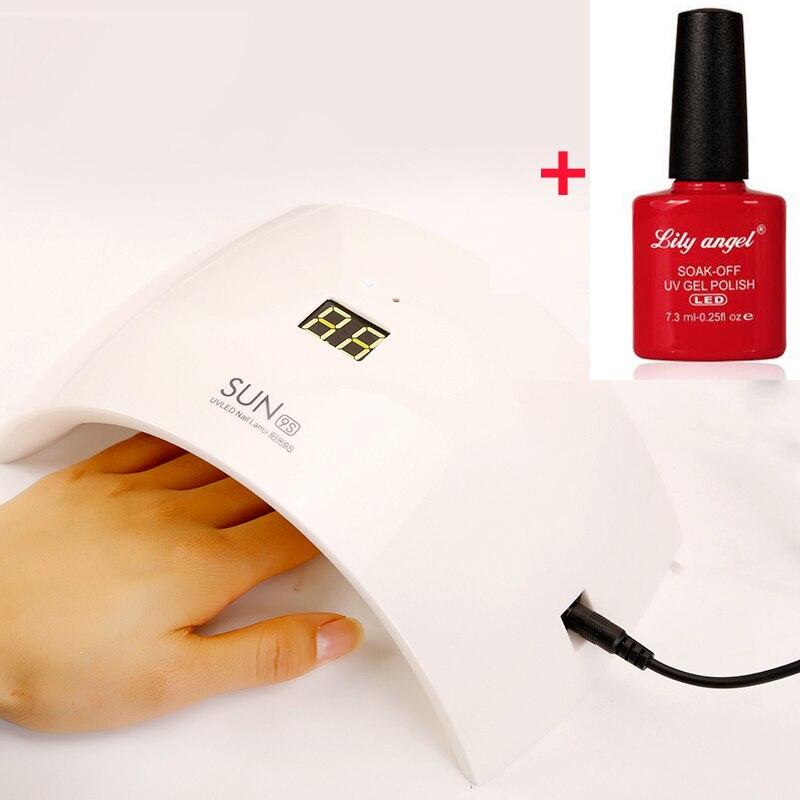 Lily angel 1PCS Nail Gel+1PCS SUN9c/ SUN9s 24W UV LED Lamp for Nails LED Dryer Polish Machine for Curing Nail Gel Art Tools