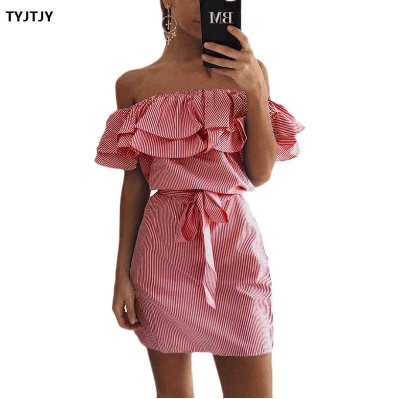 Summer dress new rockabilly 2018 fashion ruffled striped slim with a belt collar for women chiffon summer