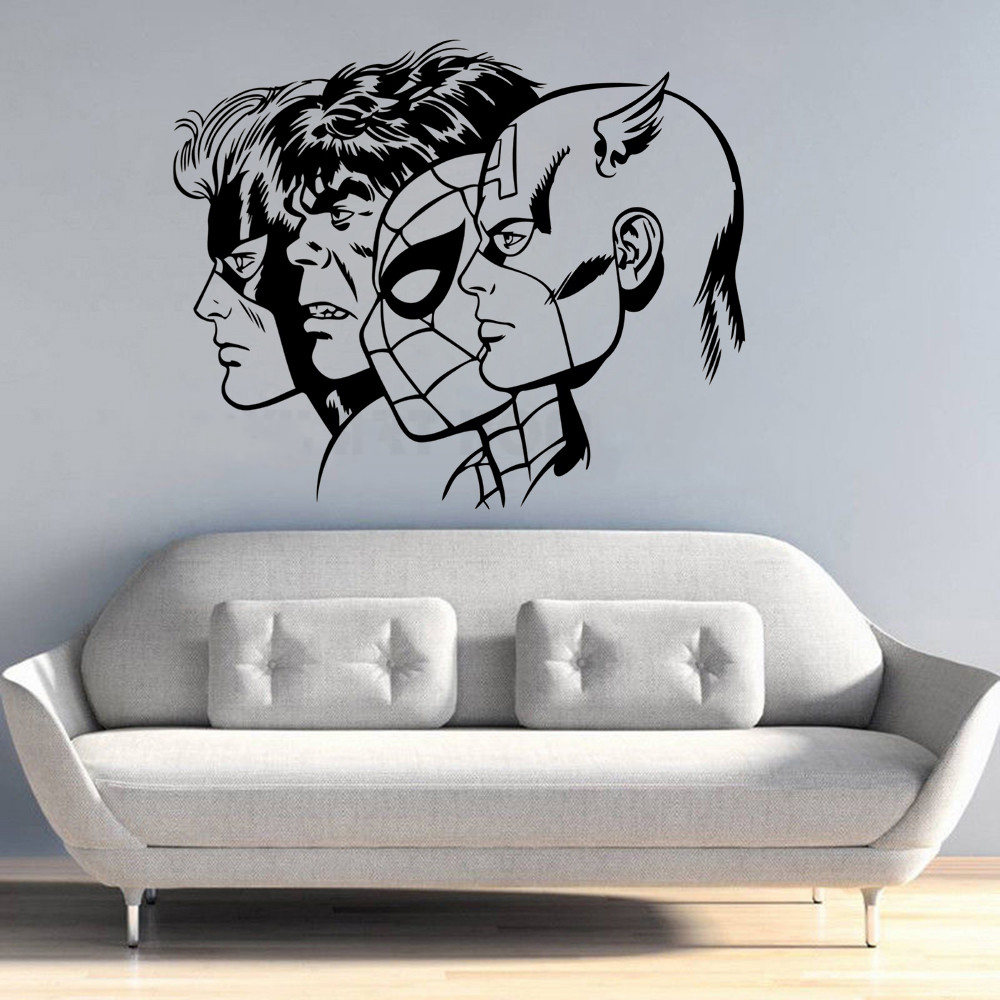 Superheroes Captain America Spiderman Hulk Wall Sticker Vinyl Art Removable Poster Mural Bedroom Livingroom Decoration W227 in Wall Stickers from Home Garden