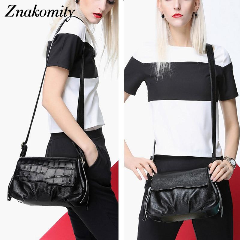 Znakomity Fashion Black crocodile messenger bag women's genuine leather Shoulder bag real leather crossbody bag for women luxury цена 2017