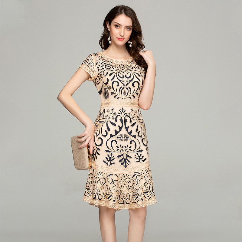 Été broderie robe 2019 femme Vintage maille élégante robe mi longue femmes vêtements grande taille 4xl demoiselles d'honneur Vestidos MY2449 - 3