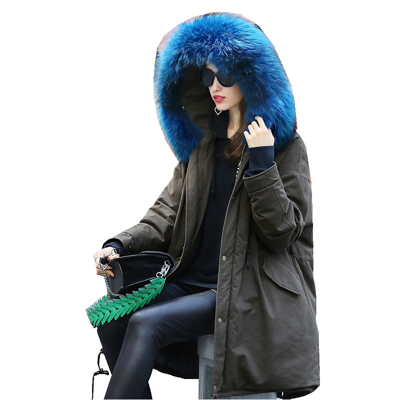 European Winter Women Parkas Down Coats Jacket Raccoon Fur Hoody 90% Duck Down Lady Warm Outerwear Overcoat LF4242