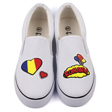 Pop Art Designer Casual Flat Loafers Men Love Romania Country Flag Print Casual Canvas Shoes Slip-On Hip Hop Rumanian Espadrille(China)