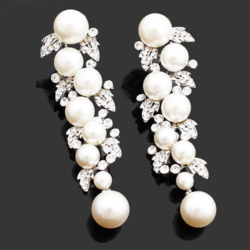 Faux Pearl Drop Earrings Rhinestones Ba 120 Unique Design Clear White Crystals Wedding Jewelry Dangle