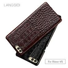 Wangcangli para Huawei Honor 6X funda de teléfono de lujo hecha a mano de cuero genuino de cocodrilo contraportada