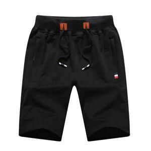 Image 2 - Шорты мужские пляжные хлопковые, повседневные однотонные бордшорты, эластичные модные короткие бриджи, лето 1012
