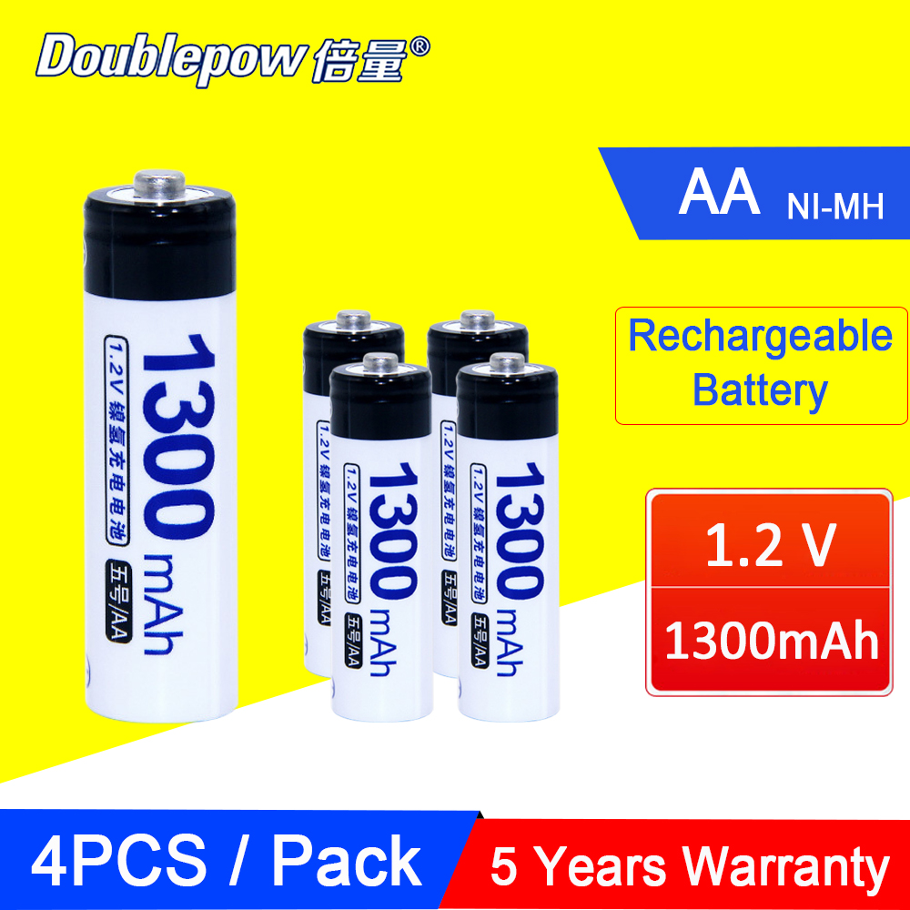 4PCS <font><b>1.2V</b></font> <font><b>AA</b></font> <font><b>Rechargeable</b></font> <font><b>Battery</b></font> 2A 5# Actual Capacity <font><b>1300mAh</b></font> NI-MH Pre-charged Bateria <font><b>Batteries</b></font> For DVD Mp3 Digital Toy image
