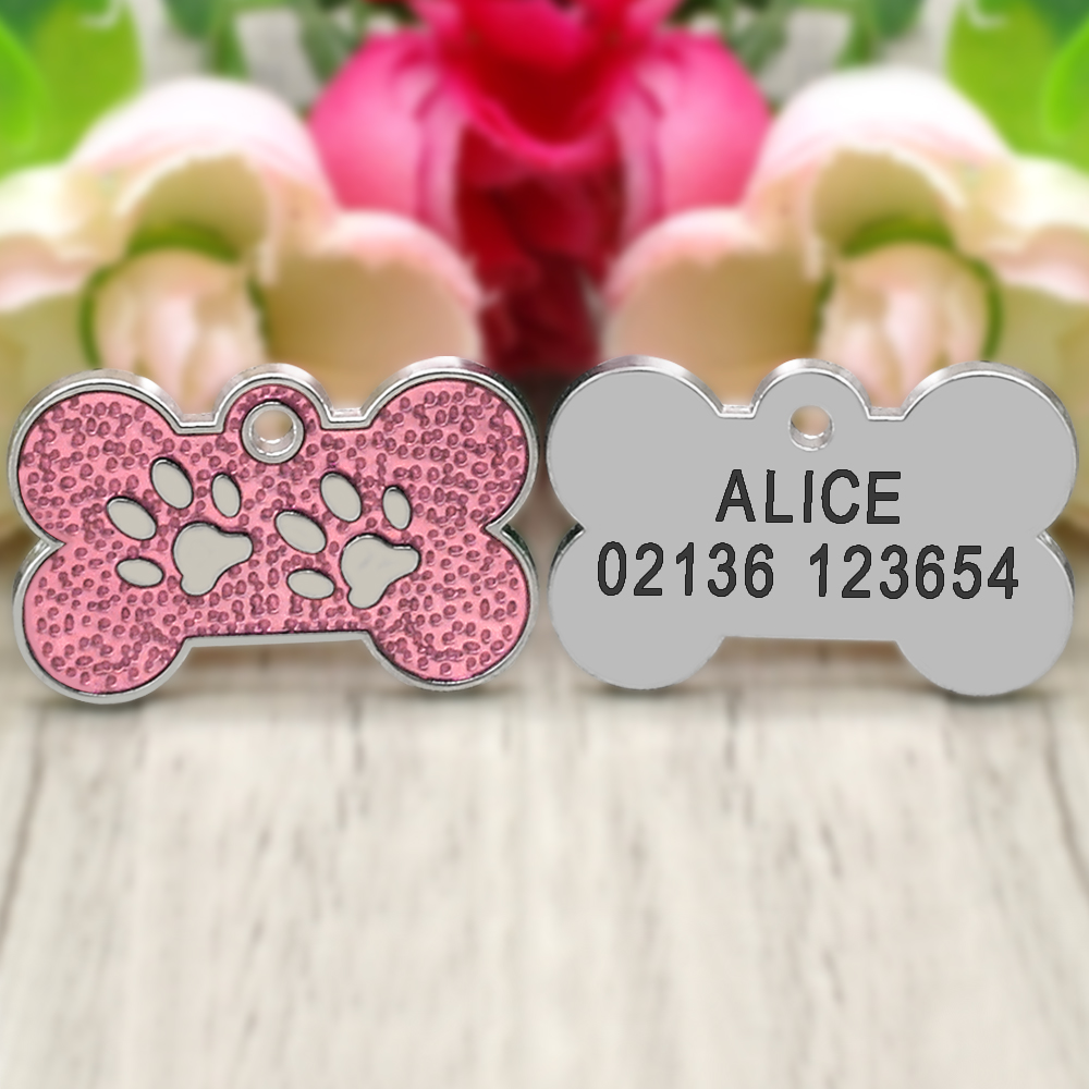Personalized Dog Tags Engraved Cat Puppy Pet ID Name Collar Tag Pendant Pet Accessories Bone/Paw Glitter 28