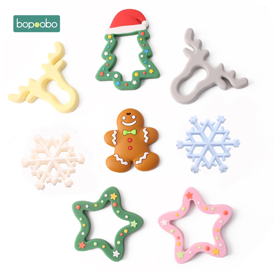 Bopoobo 1pc Silicone Snowflak Teether Christmas Tree Pendant Star Christmas Deer Gifts For Baby Elk Gingerbread MansBaby Teether