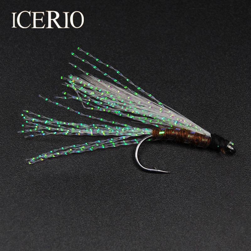 ICERIO 12PCS White Rainbow Crystal Flash Trout Fly Fishing Lure #7