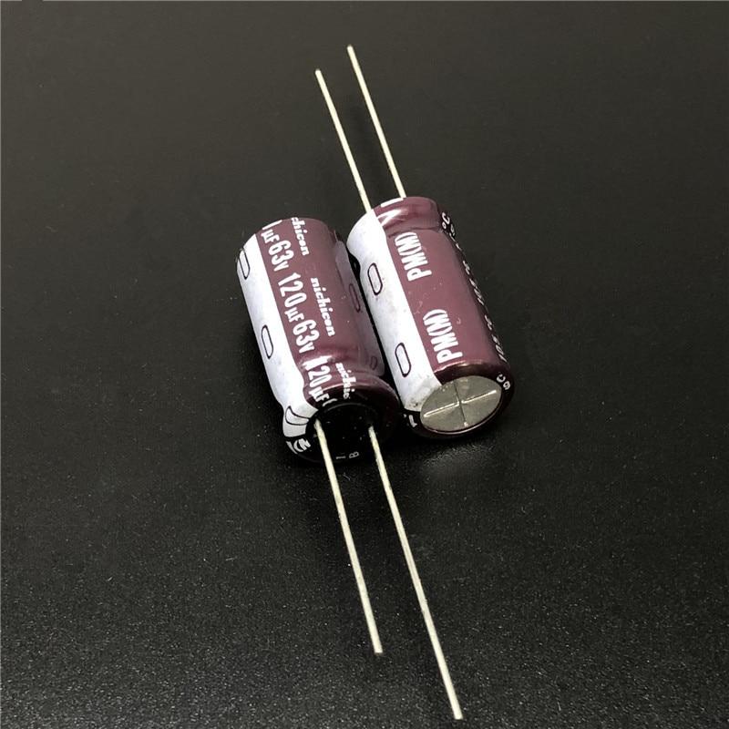 10pcs/100pcs 120uF 63V NICHICON PM Series 10x20mm 63V120uF Low Impedance Aluminum Electrolytic Capacitor