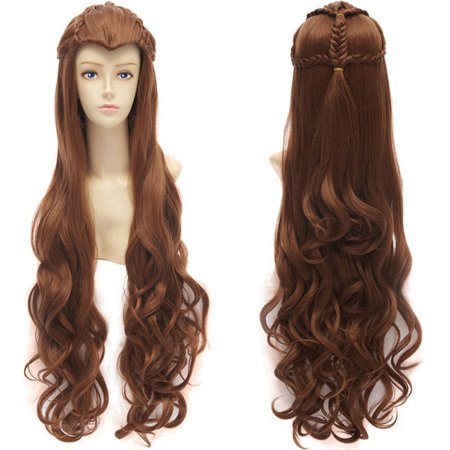 New The Hobbit Elf Tauriel Wig Brown Long Curly Anime Cosplay Wigs