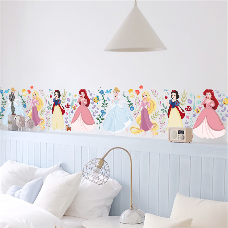Cartoon Dancing Princess Tree Flower Wall Sticker For Kids ...