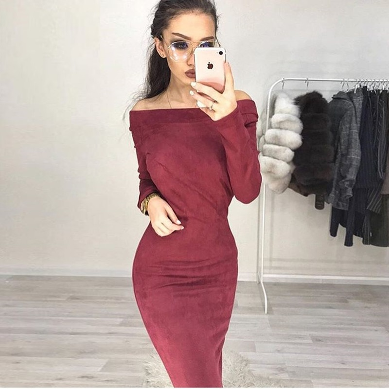 Suede Long Sleeve Off Shoulder Women Mid Calf Dress 2018 Autumn Winter Female Sexy Bodycon Christmas Party Dresses in Dresses from Women 39 s Clothing