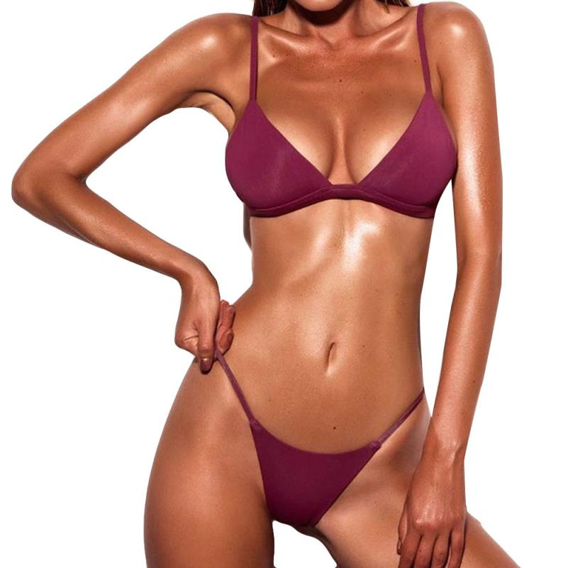 3dd610c805 2018 women bikini Sexy Swimwear Sports Swimsuit Brazilian Micro Bikinis  Women Bikini Deep Monokini Push Up Bandage Beachwear  EW-in Bikinis Set  from Sports ...