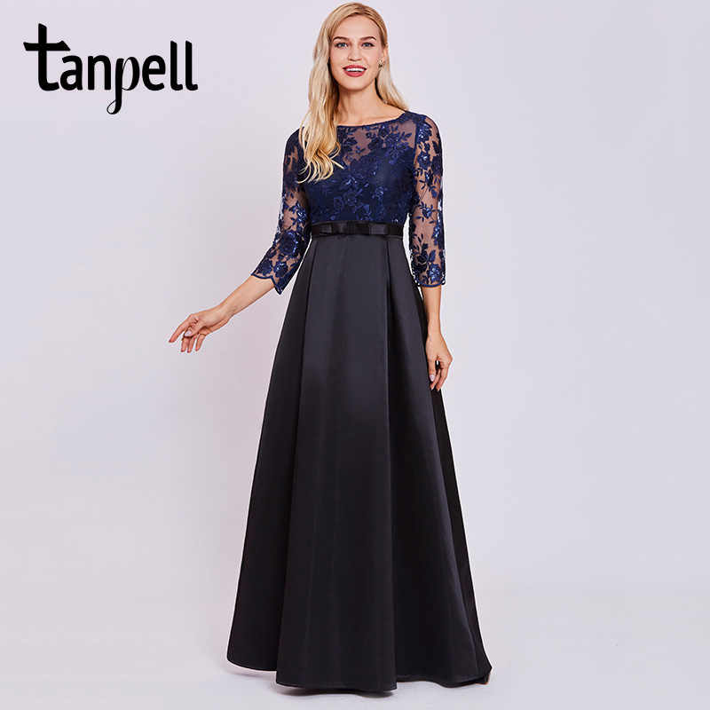 cf8c1ff5097 Tanpell lace sequins long evening dress dark royal blue full sleeves floor  length a line gown