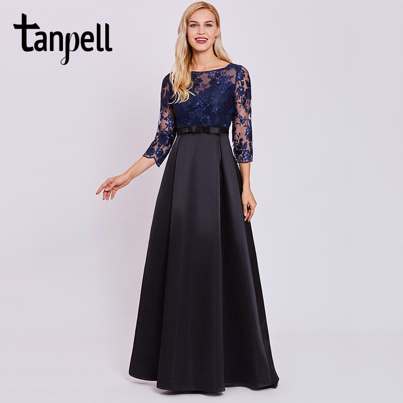 Tanpell lace sequins long   evening     dress   dark royal blue full sleeves floor length a line gown women scoop formal   evening     dresses