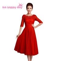 אדום תחרה חצי שרוולים אמצע עגל המפלגה אישה שמלות פטיט שמלת נשים 2018 שמלות הערב רשמיות אלגנטיות לחתונה W2907