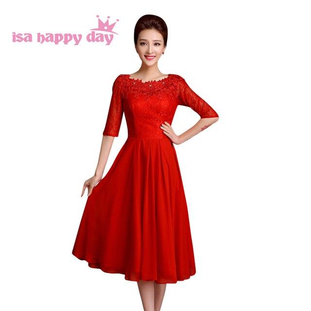 3dbb4e5f366 Женские красные кружевное с рукавом до локтя до середины икры вечернее  платье миниатюрных женщин 2019 Элегантный