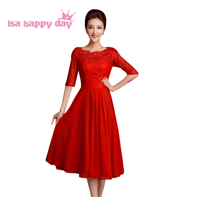 Petite Gowns For Weddings: Woman Red Lace Half Sleeves Mid Calf Party Dresses Petite