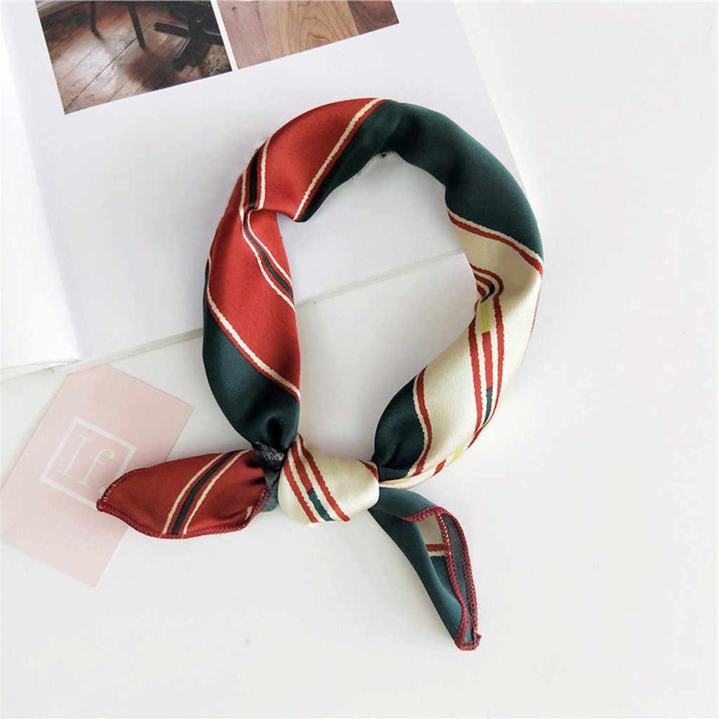 Bufanda de las mujeres accesorios para el pelo de las mujeres de la moda de la bufanda de la cabeza envuelve bufandas impreso pañuelo bufanda de cuello scrunchie 2019