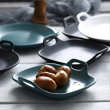 matte ceramic binaural tray household tableware breakfast plate steak dish baking bowl pan for oven Fruit cake
