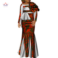 2019 Africa Style Two Piece Skirt Set Dashiki Elegant Africa Clothing Sexy Crop Top and Skirt Women Sets for Wedding WY4678