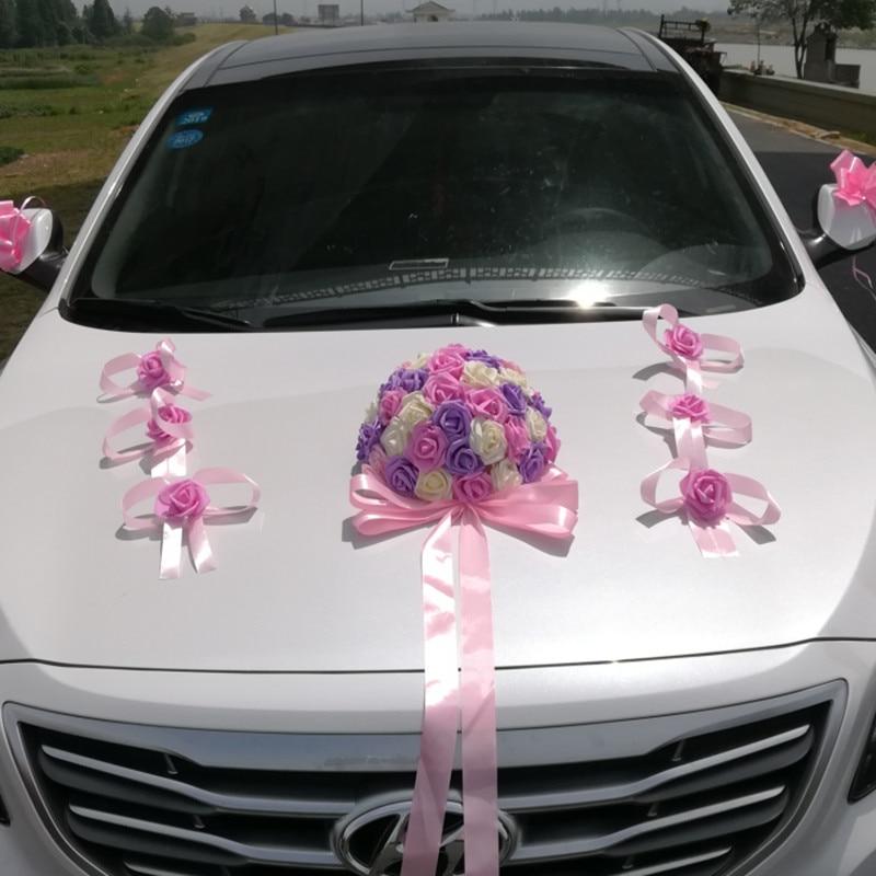 Artificial Flowers Car Decoration Sets Wedding Rose Foam Flower