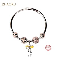 Zhaoru Authentique 925 Sterling Silver Bangles Crystal Bangles Pink Enamel Bracelet for Gift Women Fashion Fine Jewelry Gift
