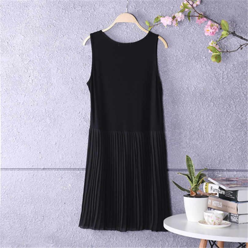 חדש אביב קיץ שמלות רצועת ספגטי טלאי שיפון קפלים שמלות נשים ליידי השפל שמלת טנק שמלה הקיצית Vestidos A769