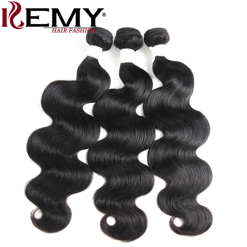 KEMY HAIR Pre-colored Human Hair Bundles Deal 8 to 26 Inch Body Wave Brazilian Human Hair Extension Non-remy Natural Black 1B#