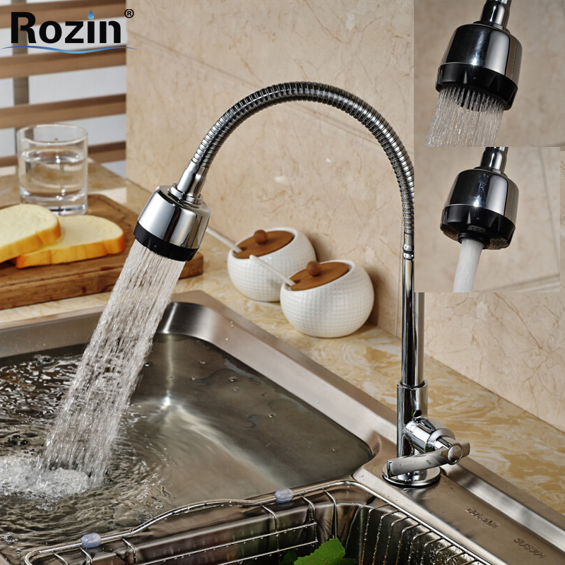 Dual Sprayer Nozzle Kitchen Sink Faucet Deck Mount One Handle Water Taps Chrome Finish swivel spout deck mount kitchen spring mixer faucet single handle dual sprayer nozzle water taps chrome finish