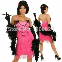 free shipping 2015 Wholesale 1920s 20s Pink Flapper Costume Charleston Dress  Women Sexy Halloween Fancy Party Cosplay Costume 5ff3f1b03491