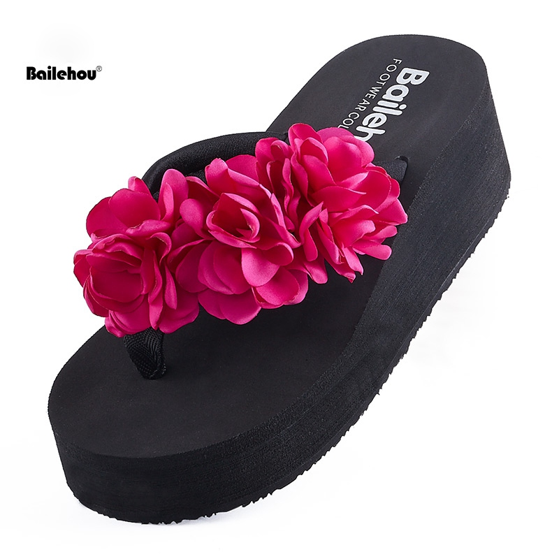 Bailehou Summer Slippers Women Fashion Flip Flops Beach Platform Sandals Ladies Handmade Flowers Wedge Jelly Shoes Mujer Shoes new summer cheap slippers women fashion flip flops beach platform sandals ladies handmade flowers wedge jelly shoes bohemia