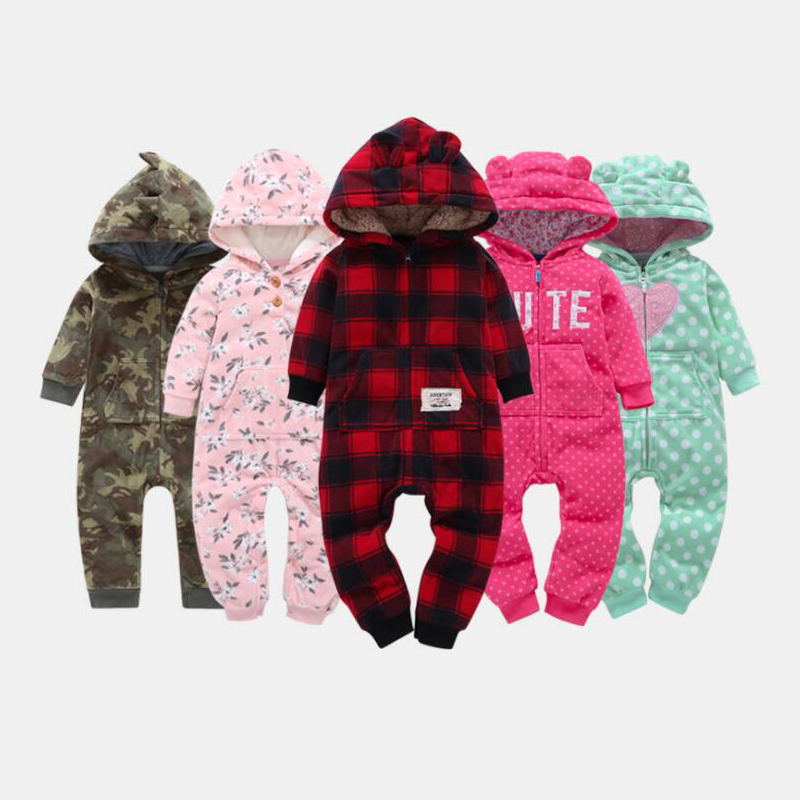 Warm Baby   Rompers   2018 Autumn Winter Cartoon Hooded Fleece baby girls jumpsuits Babies boys newborn costume