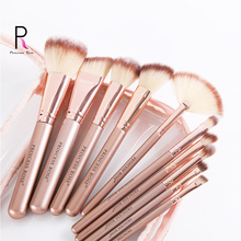 Princess Rose Gold 10pcs Cosmetic Brushes Kit Synthetic Hair Copper Pipe Professional Tools for Makeup Maquillaje Wholesale