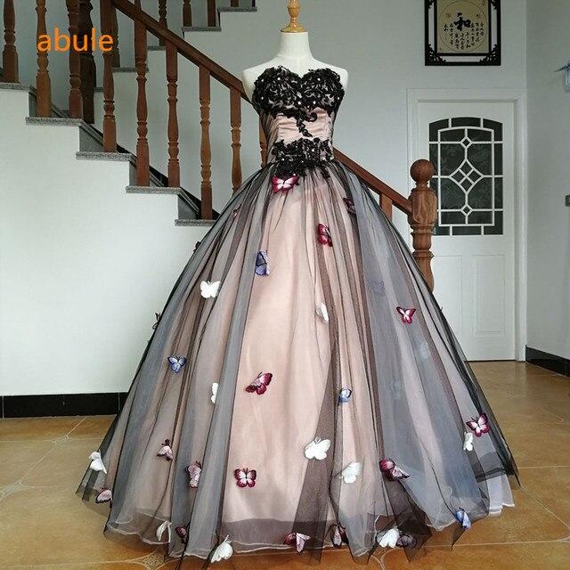 abule sweetheart evening dress 3d Butterfly flower ball gown student ...