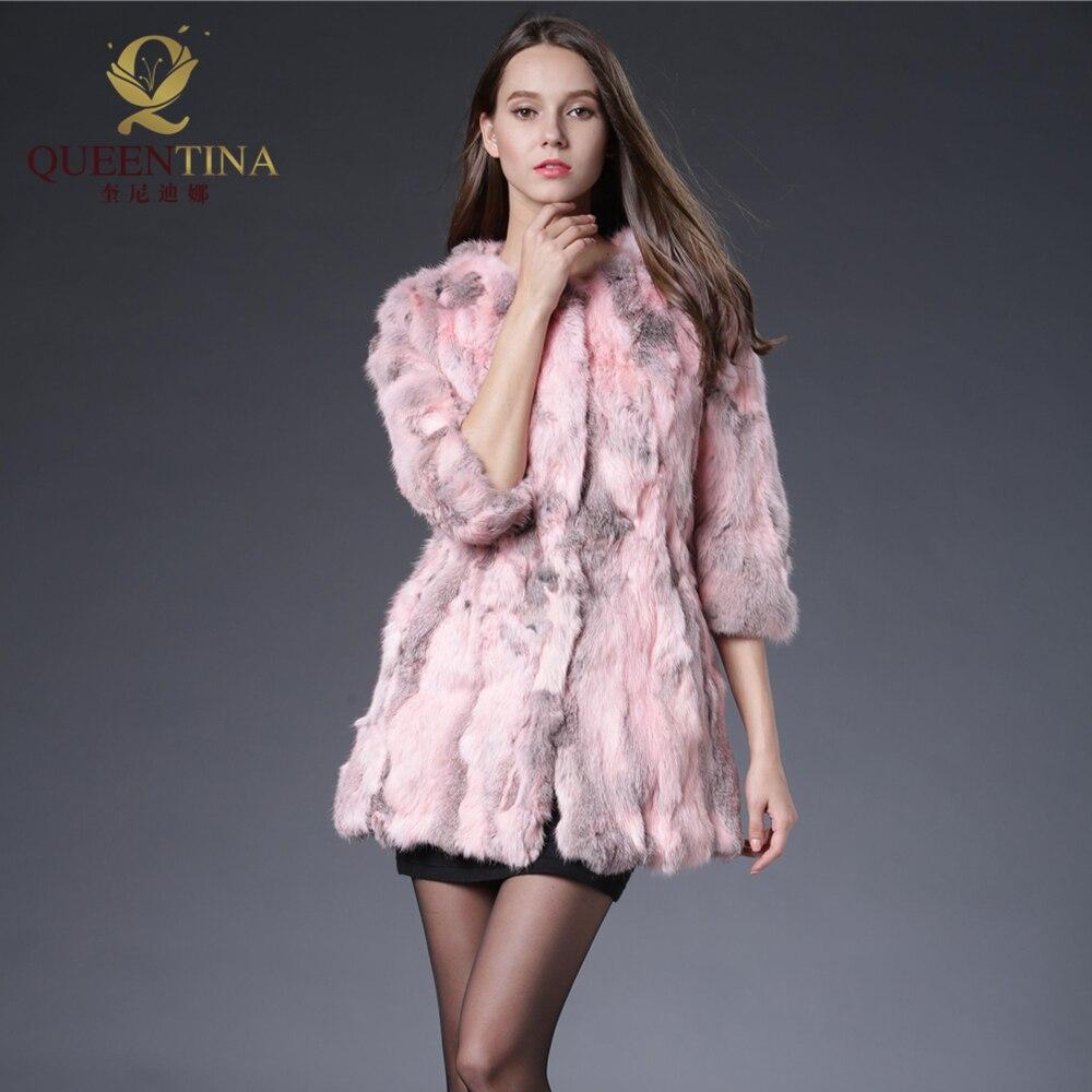 Vraie jaune Réel Femmes Mode Hot bleu Pour Qualité Vestes Automne Lapin Fourrure Pink De Veste Hiver Outwear Naturel Manteau rose Haute Patchwork qIxRgCOwT