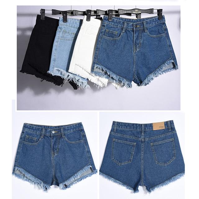 ff0d5625c62c € 9.3 |Coreano De Moda de Verano Recortada Pantalones Cortos de Mezclilla  Cintura Alta de La Borla Para Las Mujeres de Gran Tamaño de Color Sólido ...