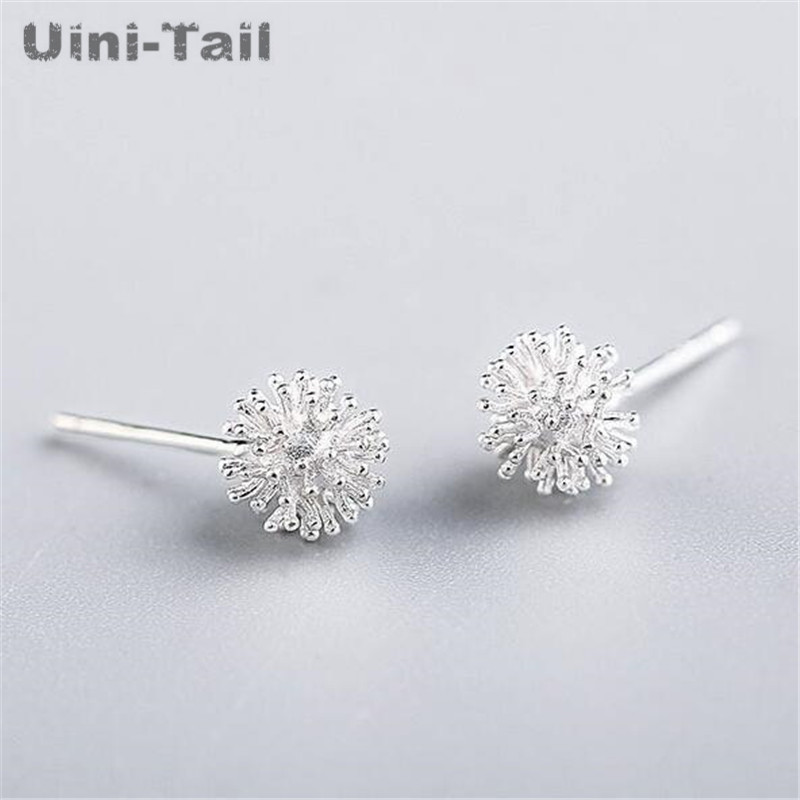 Uini-Tail hot new 925 sterling silver dandelion flower ball Christmas snowflake delicate earrings female classic simple earrings