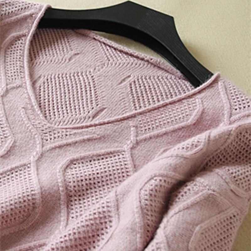 Pur V Tricoté pink Automne Creux Col bourgogne Et blanc Grande Beliarstspring Lâche gris En Taille Noir Femmes De Purple Manteau Chandail Pull Cachemire Nouvelles Opaqx48w
