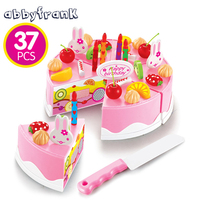 75Pcs Cutting Birthday Cake Kitchen Toys Pretend Play Food Toy Kitchen For Children Plastic Play Food