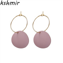 kshmir Fresh earrings, fashion, simple candy color retro matte  earrings.Ladies exquisite Round Earrings Jewel